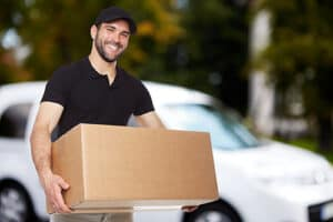 Man holding moving box