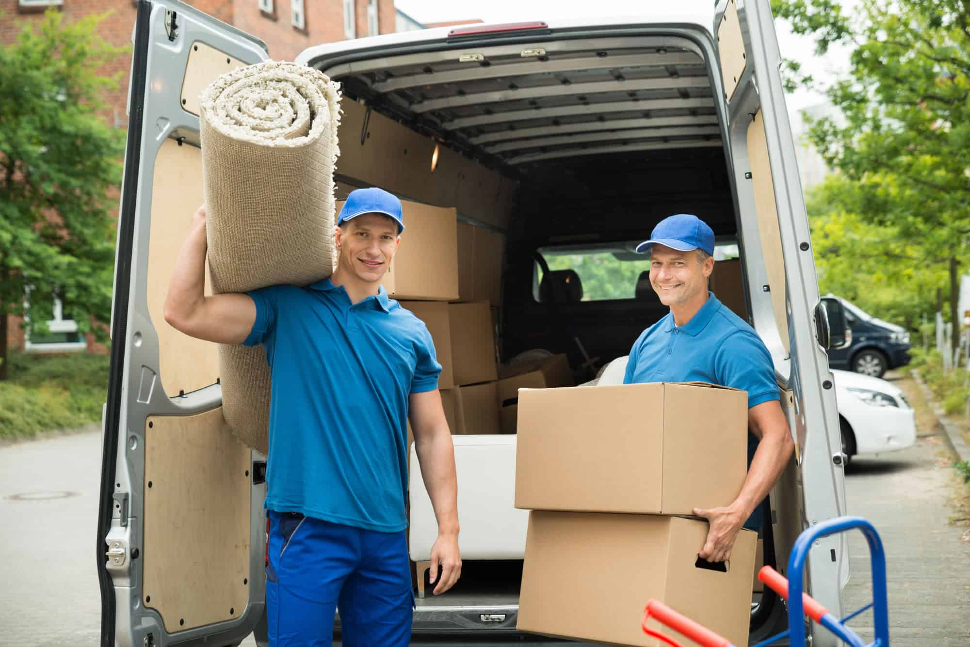 Durham moving company and movers emptying truck